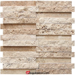 2.3x14.5 Traverten Patlatma / Cilalı Mix Mozaik -DT1483